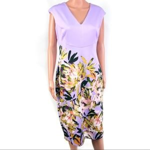 Maggy London Lilac Purple Floral Sheath Dress 10